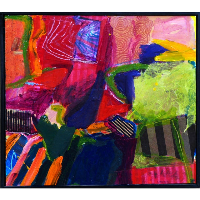 A colorful abstract incorporating a lot of collage. A compilation of shapes textures and colors. The art work is set off...