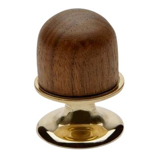 "Stockton 1 1/4"" Walnut Knob in Nickel For Sale"