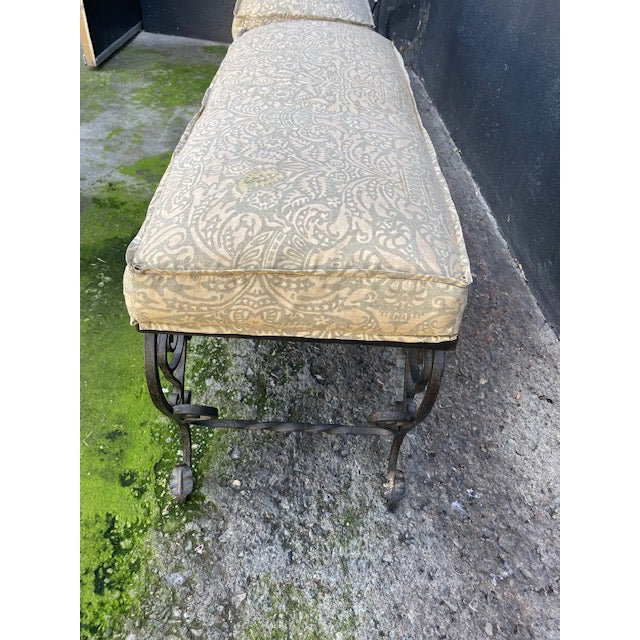 Pair Of 1900's French Iron Benches With Trelice Rosette Motif For Sale - Image 4 of 13