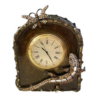 Jay Strongwater Rhinestone Lizard and Butterfly Olive Clock For Sale