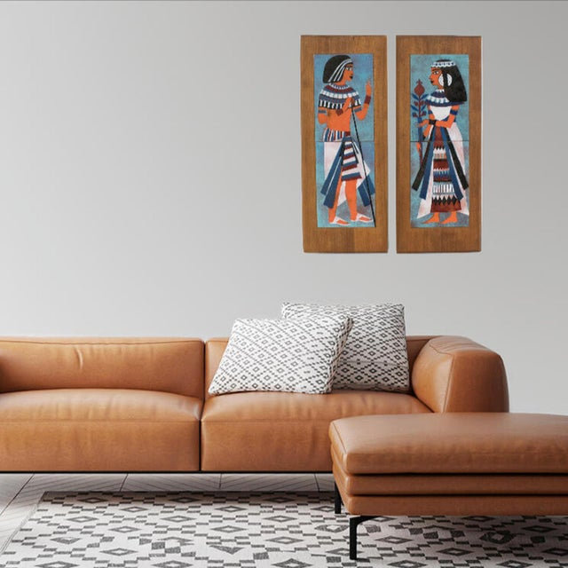 Egyptian Revival Judith Daner Midcentury Enamel on Copper Artwork Wall Panel Egyptians, a Pair For Sale - Image 3 of 13