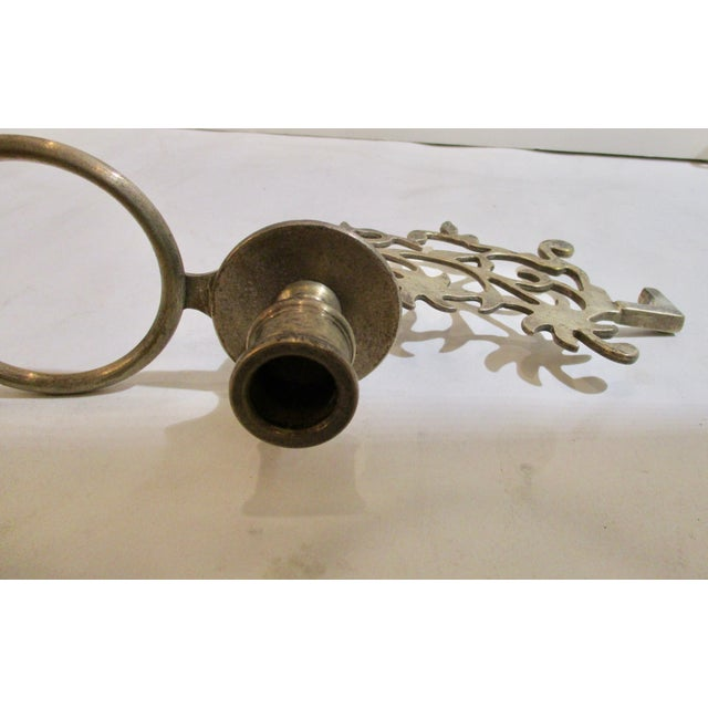French Silver Plate Bronze Candle and Oil Chandelier For Sale - Image 9 of 11