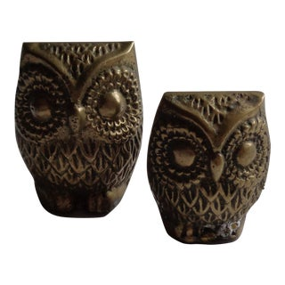 Vintage Brass Owls - A Pair