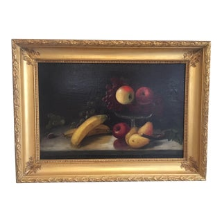 Late 19th Century Antique Fruit Still Life Oil Painting For Sale