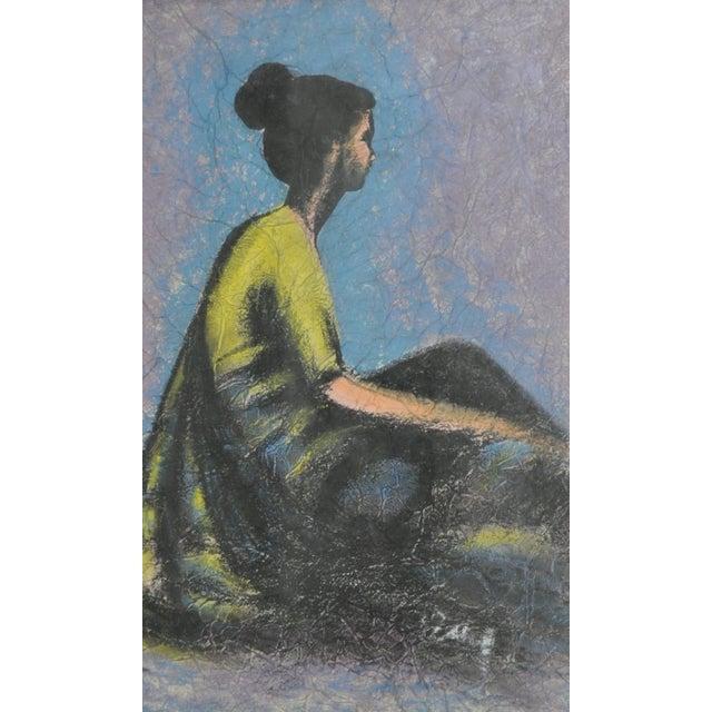 Vintage Pastel on Paper in Gilded Frame C.1950's - Image 3 of 6