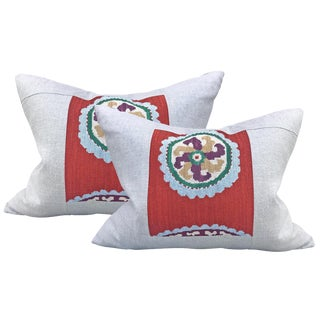 Pair of Early 20th Century Uzbek Embroidered Pillows For Sale