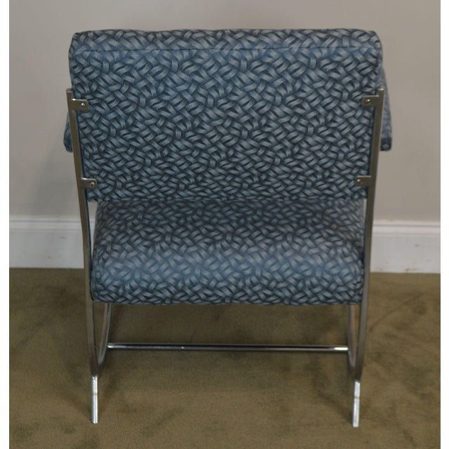 Art Deco Vintage Chrome Frame Pair of Armchairs For Sale In Philadelphia - Image 6 of 13