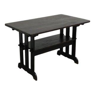 Antique Mission Oak Trestle Library Table Bench For Sale