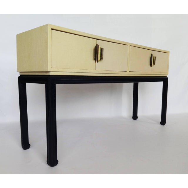 Black Modern Lacquered Grasscloth Console or Buffet For Sale - Image 8 of 8
