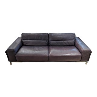 1990s Contemporary Roche Bobois Pebble Leather Sofa With Chrome Base For Sale