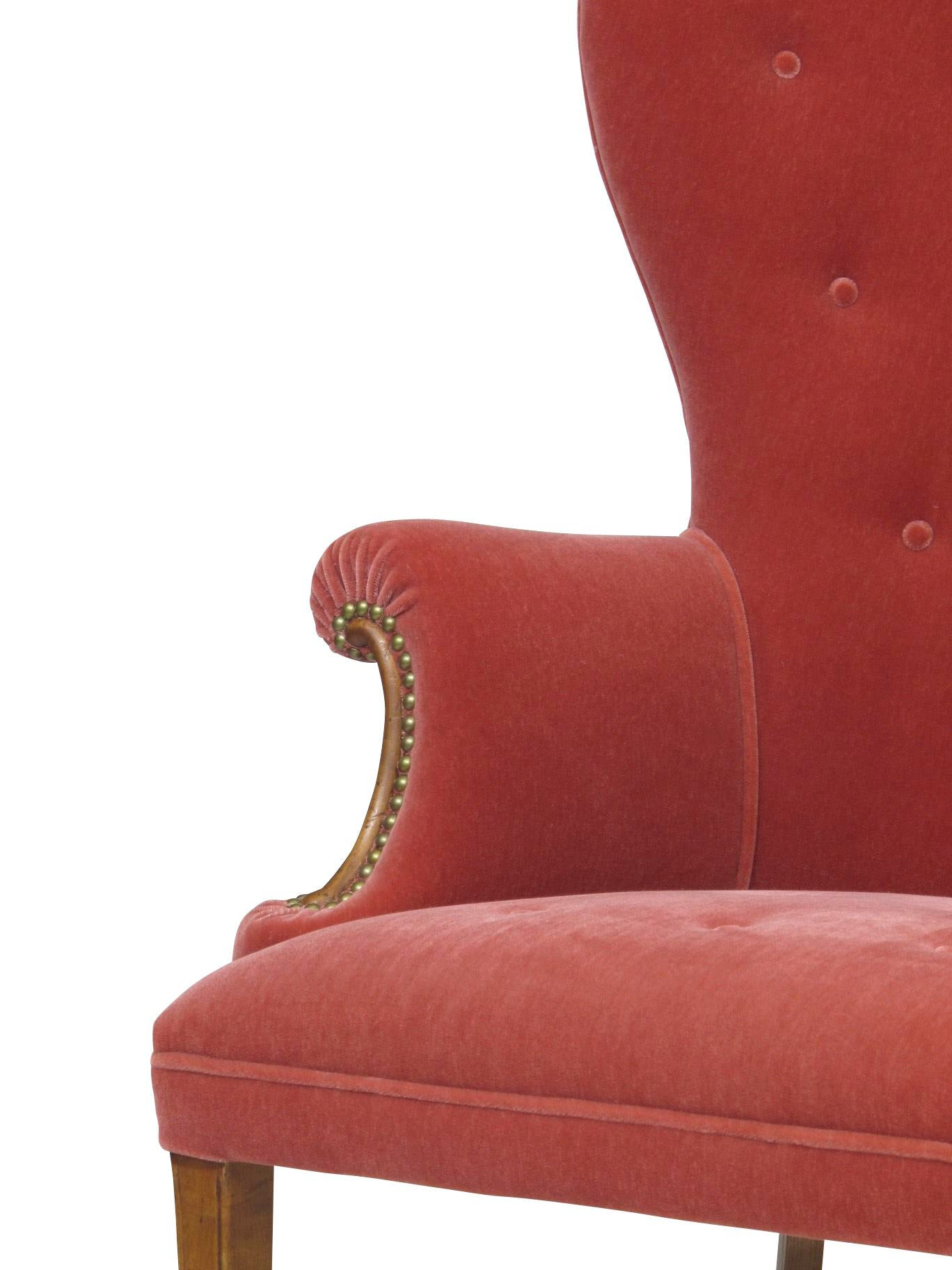 Hollywood Regency Pink Mohair Lounge Chairs For Sale In San Francisco    Image 6 Of 7