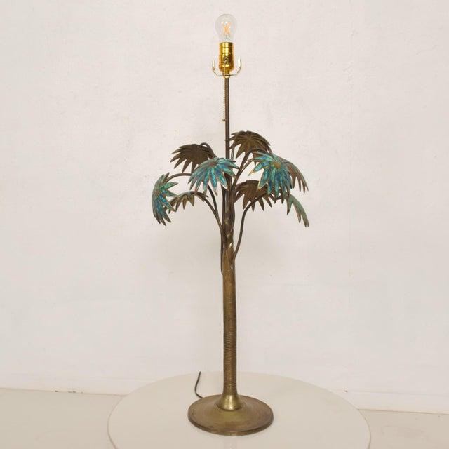 1950s Pepe Mendoza Palm Tree Table Lamp in Bronze & Malachite, Mexico For Sale - Image 11 of 11