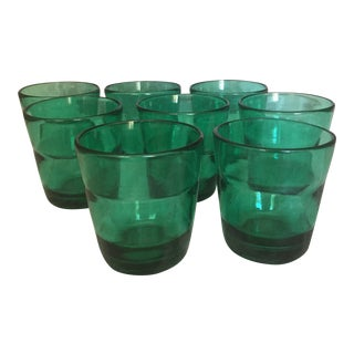 Mid Century Green Tumblers - Set of 8