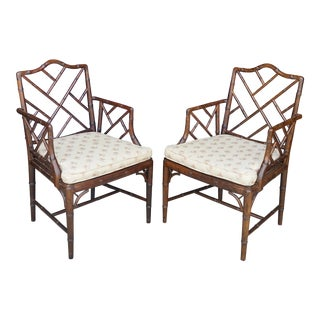 1960's Chippendale Faux Bamboo Armchairs - a Pair For Sale