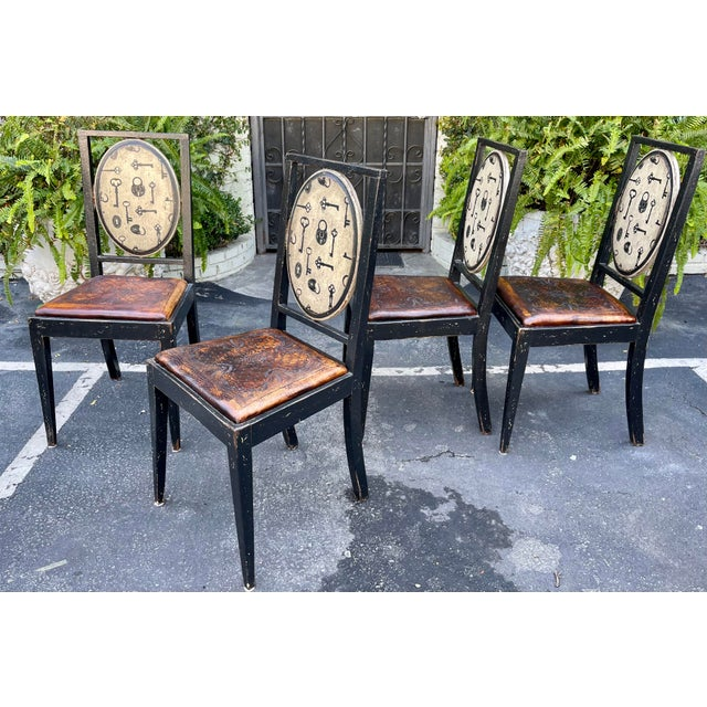 Equator Furniture Company Rustic Tooled Leather Painted Dining Chairs