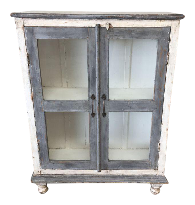 Distressed Gray U0026 White Media Cabinet / Bookshelves