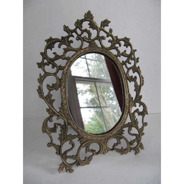 Traditional Brass Scroll Vanity Mirror For Sale - Image 3 of 6