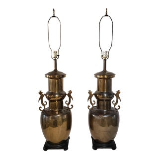 Vintage Brass Urn Style Lamps- a Pair For Sale