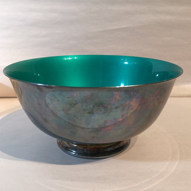 Reed & Barton Silver Plated & Bright Green Enamel Bowl For Sale - Image 9 of 10