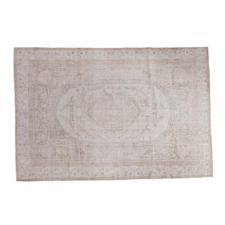 "Distressed Oushak Carpet - 6'10"" X 10'1"" For Sale"