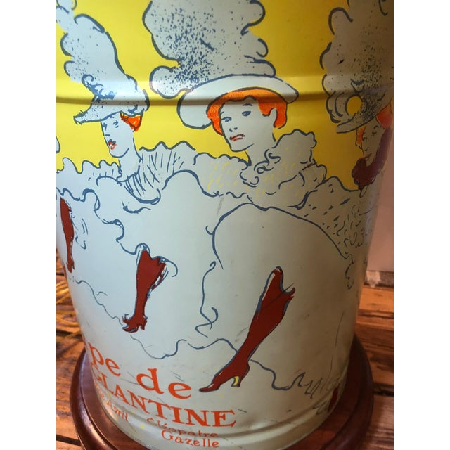 Pair of Custom Tin Canister Lamps a La Toulouse Lautrec For Sale - Image 10 of 11