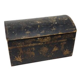 Mid 19th Century Antique Pine Decoupage Document Box For Sale