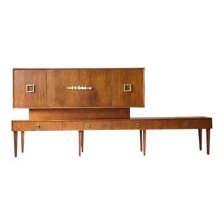 Custom Made Walnut Sideboard or Credenza with Brass Hardware For Sale