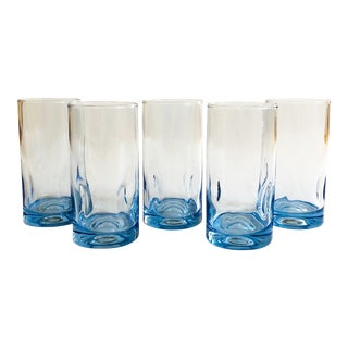 Vintage Blown Glass Periwinkle Tumblers - Set of 5 For Sale