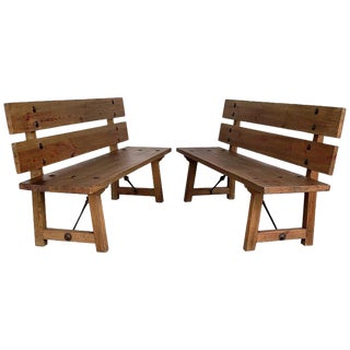 20th Pair of Spanish Park or Garden Benches With Wood Slabs & Iron Stretchers For Sale