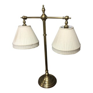 Traditional Ethan Allen Cream Shade Brass Table Lamp