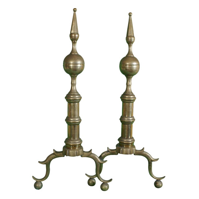 Early 19th Century Brass Andirons - a Pair For Sale