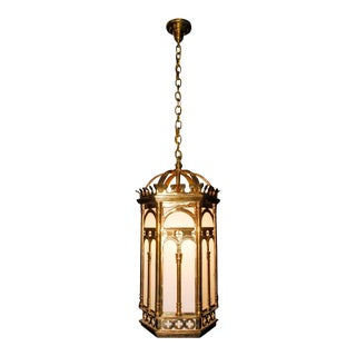 Antique 1920s Brass Hanging Light Fixture For Sale