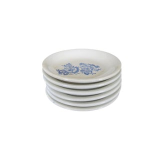 Vintage White and Blue Floral Ironstone Small Round Butter Pat Plate Set of 6 For Sale