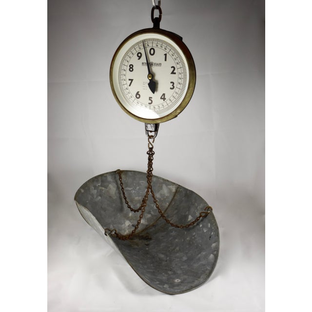 Rustic Vintage Detecto Hanging Mercantile Scale with Steel Scoop For Sale - Image 3 of 11