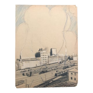 1940s Evelyn Underwood Industrial Drawing For Sale