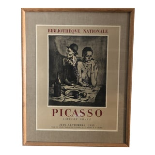 1955 Bibliotheque Nationale Pablo Picasso L'œuvre Gravé Poster, Framed For Sale