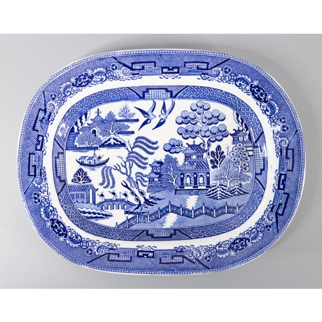 Late 19th Century Antique English Staffordshire Blue Willow Platter For Sale - Image 5 of 5