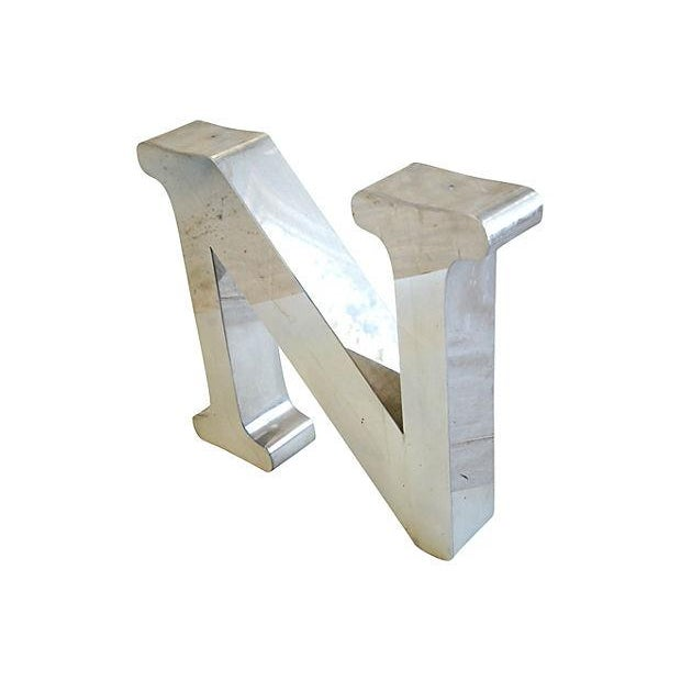 Vintage 1970s Stainless Steel Marquee Letter 'N' - Image 2 of 4