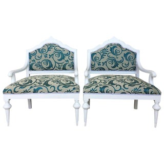 Pair of Art Noveau Lounge Chairs Painted in White and Reupholstered For Sale