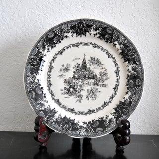 Toile Black Staffordshire Plate, Equestrian Trasferware Tabletop Platter Preview