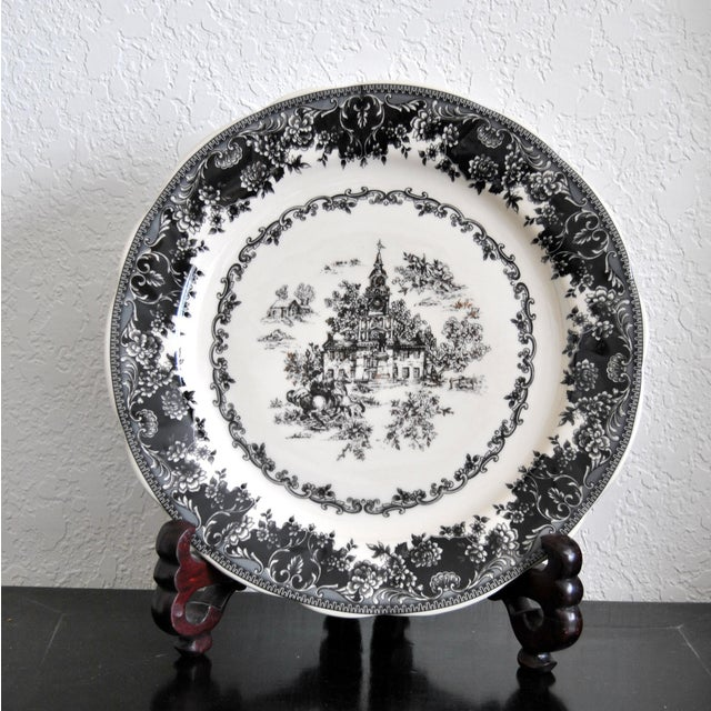 Staffordshire toile-black large plate, decorated with floral rim and Old Britain/English country Bourgeoisie theme, this...