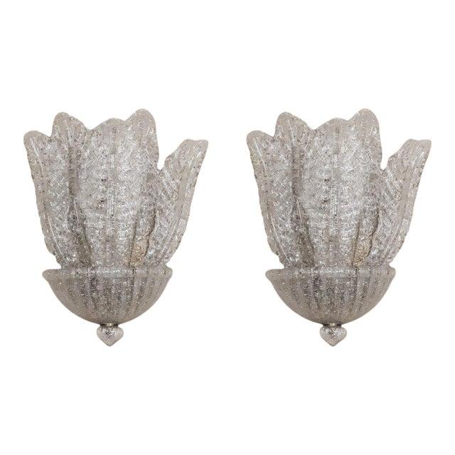 Metropolitan Suite West Barovier & Toso Italian Glass Sconces - a Pair For Sale