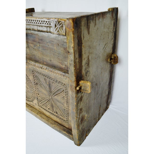 Ancient Kafiristan Wooden Dowry/Treasure Chest - Image 7 of 10