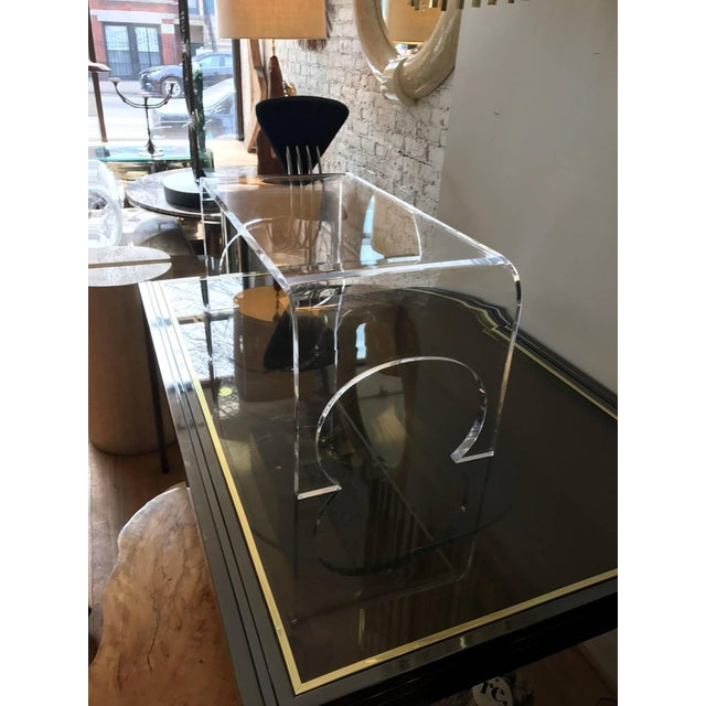 Lucite Waterfall Coffee Table in the Manner of Charles Hollis Jones For Sale - Image 9 of 11