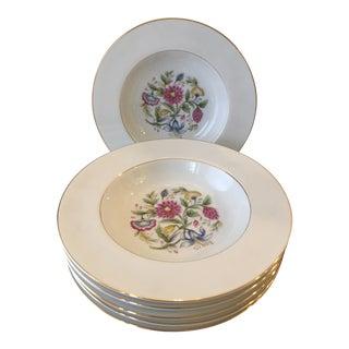 Chinoiserie Flower Noritake Rim Soup Bowls - Set of 6