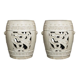 White Glazed Chinese Garden Seats For Sale