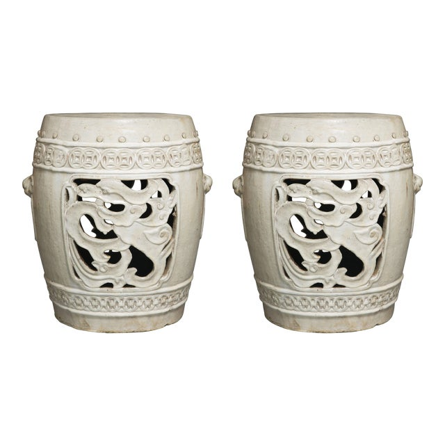White Glazed Chinese Garden Seats - Image 1 of 10