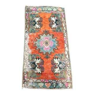 Vintage Traditional Turkish Oushak Wool Small Rug - 1′8″ × 3′3″ For Sale