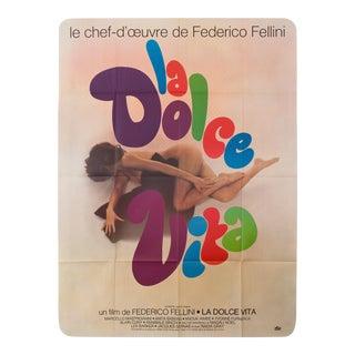 "Vintage 1970s French ""La Dolce Vita"" Federico Fellini Film Poster"