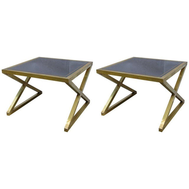 Italian Modern X-Frame Handcrafted Bronze and Black Low Coffee Tables - a Pair For Sale - Image 11 of 11